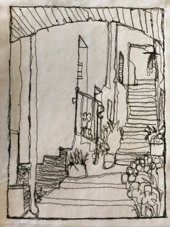 Free Machine Embroidery inspired by Atessa's narrow streets