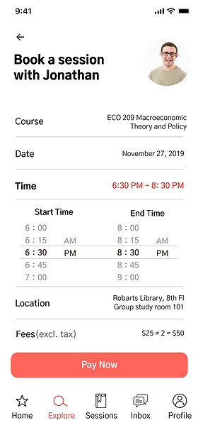UX design mid-fi prototype peer tutoring booking