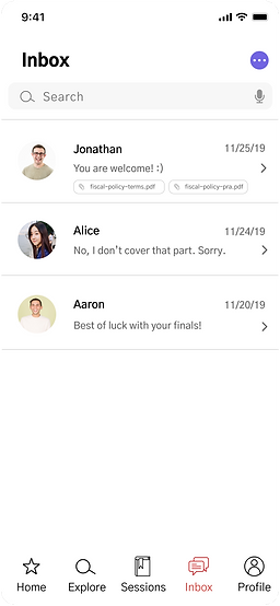 UX design mid-fi prototype peer tutoring inbox
