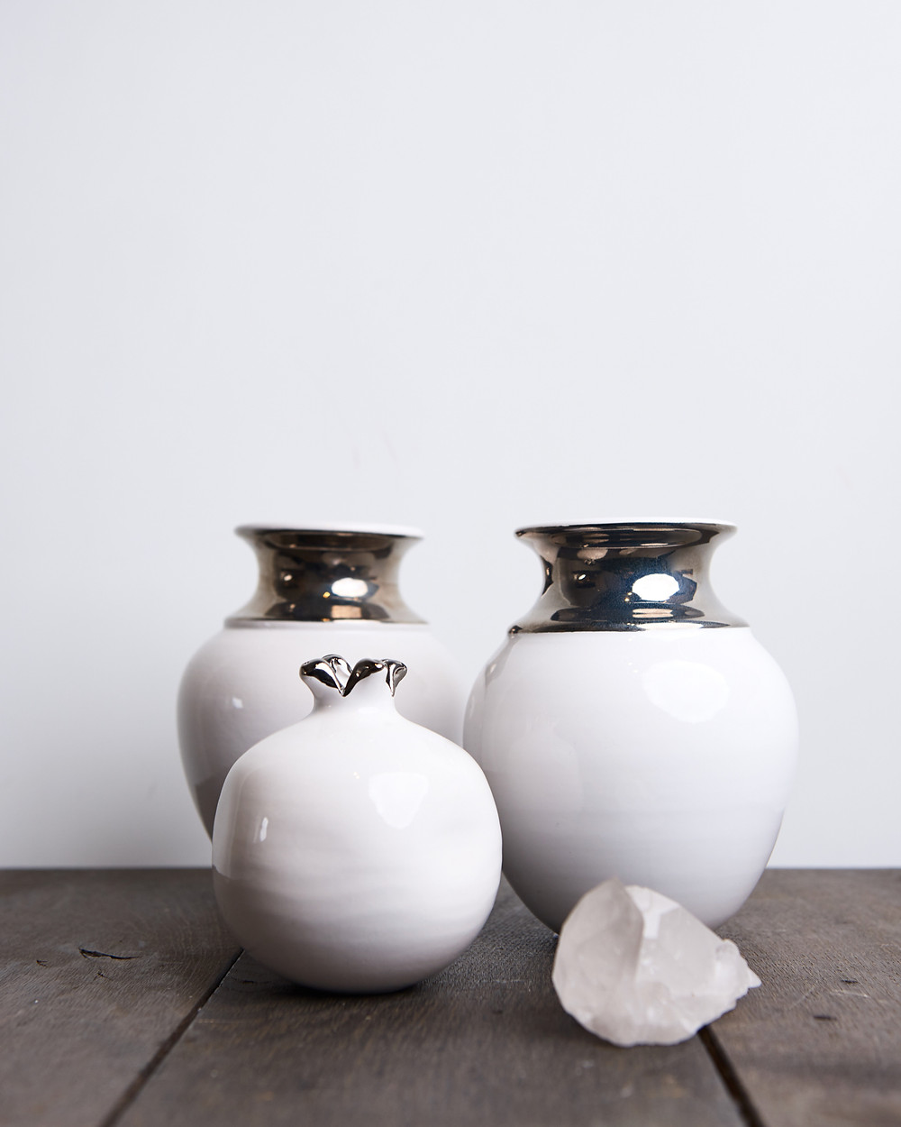 hand crafted silver painted vase