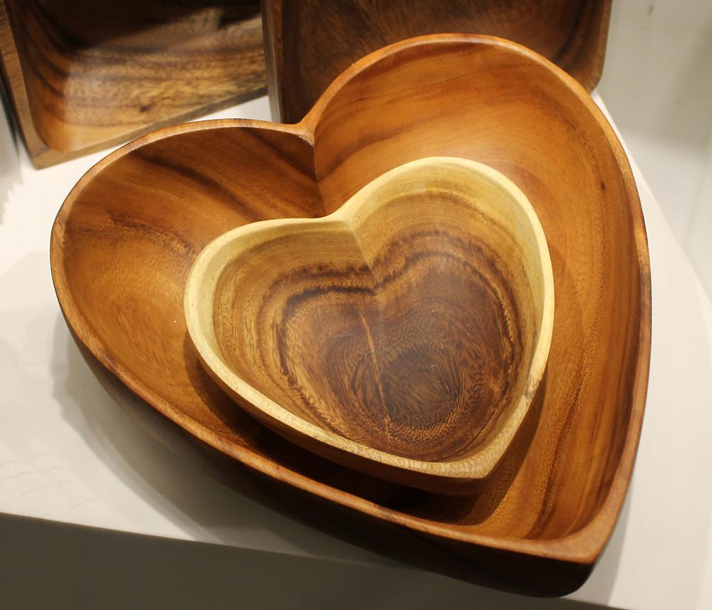 Wooden Heart Bowl Valentine's Day