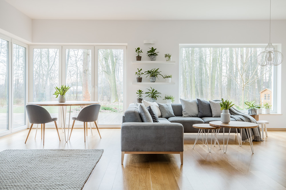 bright clean living room