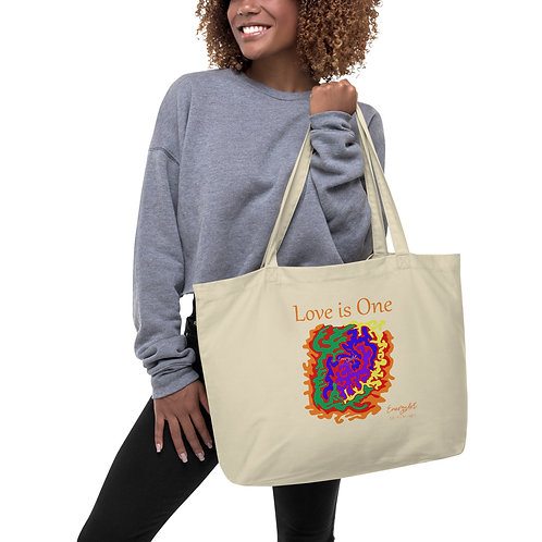 Love is One Large organic tote bag