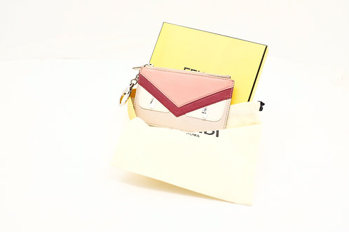 Fendi Monster Key Pouch in Pink and Red Coated Canvas