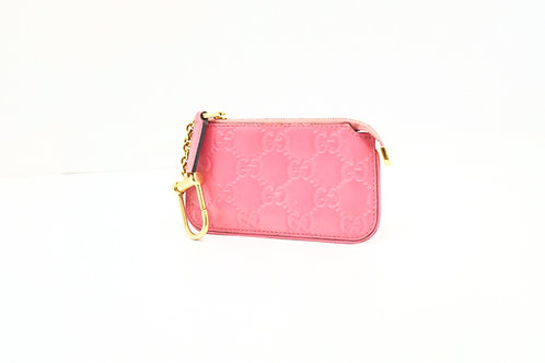 Gucci Guccissima Coin Case in Pink Leather