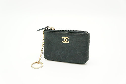 Chanel Camelia Line Zipped Coin Pouch in Black Lambskin