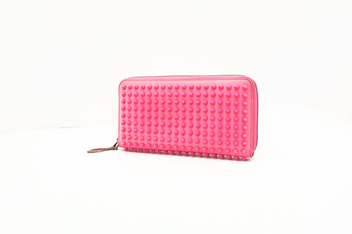 Louboutin Long Wallet in Pink Spiked Leather
