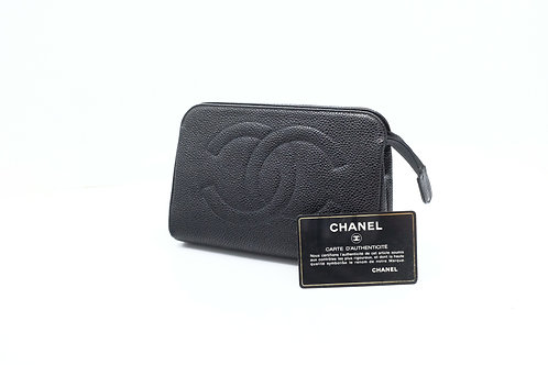 Chanel Timeless Line Cosmetic Pouch in Black Caviar Leather