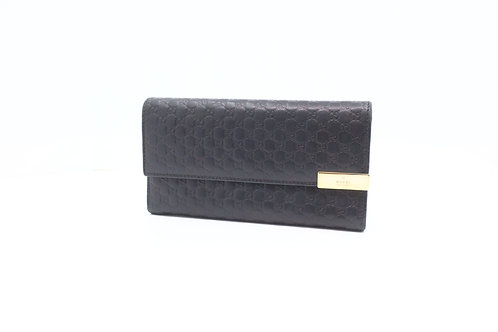 Gucci Long Wallet in Black Guccissima Leather