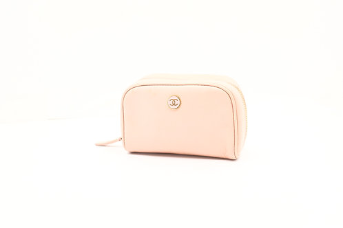Chanel Coco Button Pouch in Pink Caviar Leather