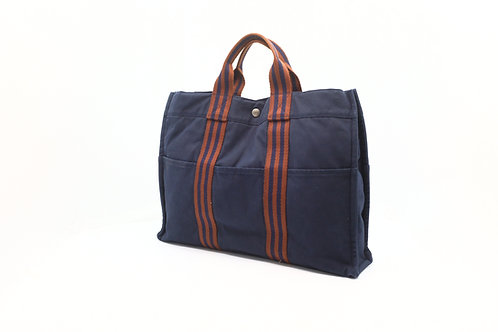 Hermes Red x Navy Fourre-Tout MM Tote Bag in Denim Canvas