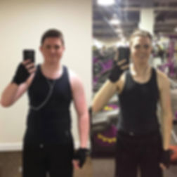 man in black tanktop at a gym taking a before and after fitness selfie