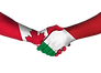 canadian flag and italian flag shaking h