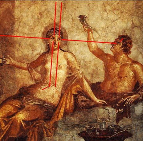 Fresque romaine -Pompéi - Lignes de regard de la femme