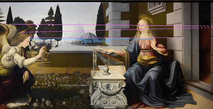 Leonard De VINCI Annonciation perspective inhabituelle avec trois lignes de fuite hors technique mono-focale