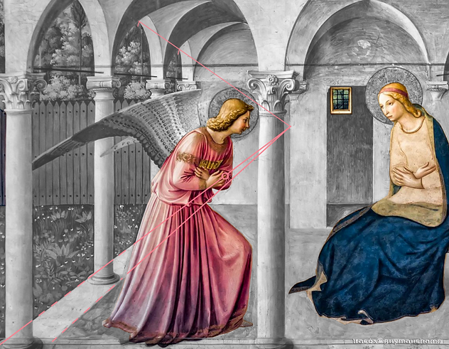 Fra ANGELICO Annonciation - perspercive narrative avec Gabriel