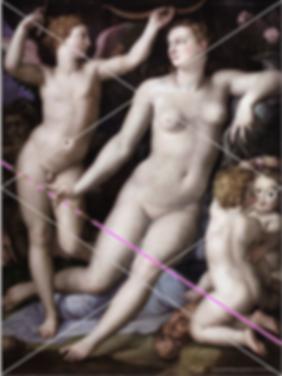 BRONZINO Vénus et Cupidon grille de compostion et flèche de Vénus