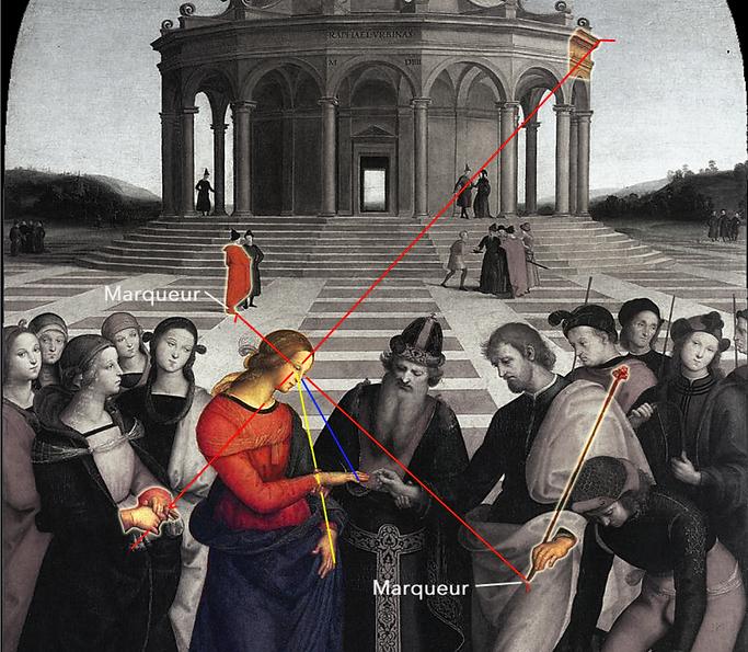 Raffaello - Matrimonio della Vergine - 1504 - i segni sul tessuto rosso e la bacchetta di Giuseppe