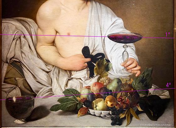 Caravage, Bacchus, le vin incliné dans l