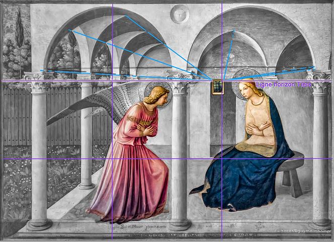 Fra ANGELICO Annonciation - perspective ciel et grille des tiers