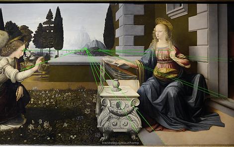 Léonard de VINCI, Annonciation, lignes de fuites terre rejoignant la ligne Ciel