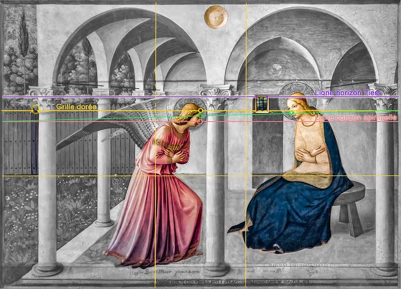 Fra Angelicco, Annonciation, perspective narrative et grille dorée