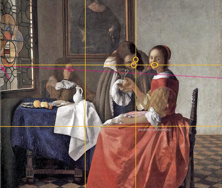 Vermeer, Jeune fille au verre de vin incliné, cette inclinaison du vin est conditonné par la grille dorée de composition
