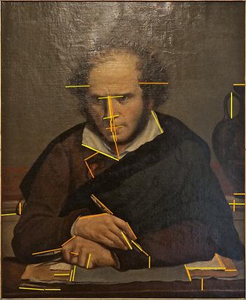 GIRODET usage du rapport doré indiqué par son compas d'harmonie tenu en main