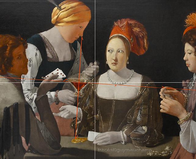 De La TOUR - The Cheater - il vino è inclinato e indica la collana e il gioco di carte.