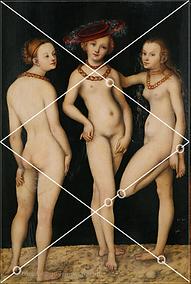 Cranach - les 3 grâces - analyse de composition, grilles des 1/2 médianes