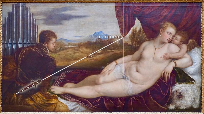 Titien - Vénus et l'Organiste - Marqeur avec le couteau de l'organiste