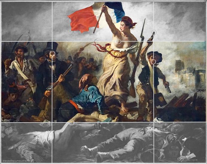 Delacroix, libertà che guida le persone, griglia di composizione armonica