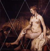 Rembrandt, Besthsabée et la lettre de David - Analyse de composition, grille des 1/2 médianes.