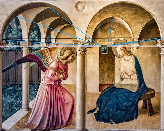 Fra ANGELICO Annonciation - perspective narrative à deux points focales