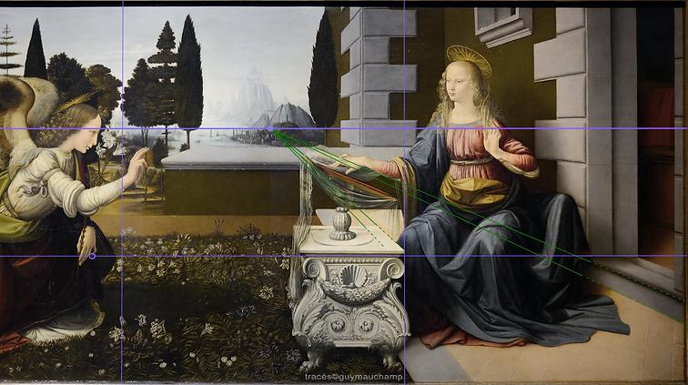 Léonard De VINCI, Annonciation, perspective sur la grille des tiers.