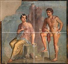 Fresque Pompéi composition avec la grille des médiames