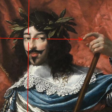 Vouet - Portrait de Louix XII - La lign de regard pointe son curieux doigt.