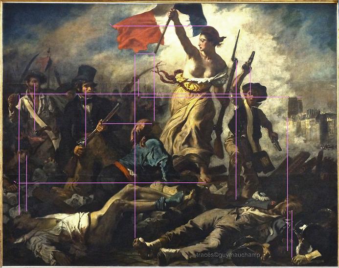 Delacroix, La liberté, lignes verticales