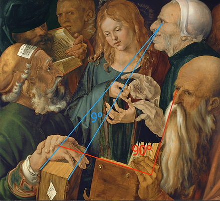 Dürer - Jésus parmi les docteurs - tracés des angles préférentiels.