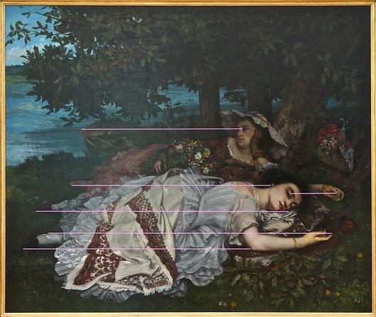 COURBET, Demoiselles bord seine, analyse de composition horizontale