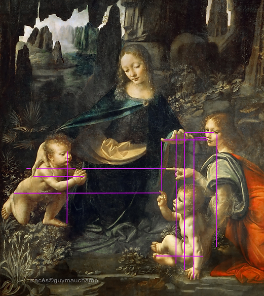 DeVINCI Vierge au rocher, Analyse des verticales et horizontales