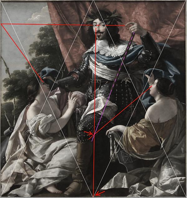 Analyse portrait de Louis XIII par VOUET, grille harmonique et oblique.