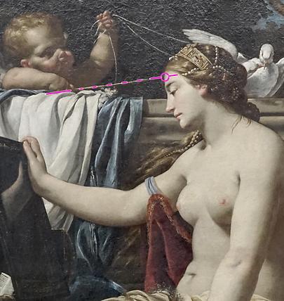Simon VOUET - La toilette de Vénus - La flèche pointe l'âme de Vénus