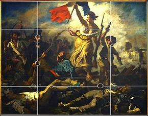 Delacroix - La liberté - 7 points posés sur la grille des demi-médianes.