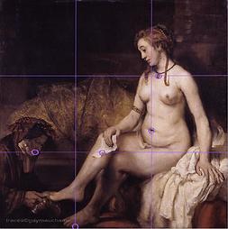 Rembrandt, Bethsabée - Analyse avec la grille des tiers
