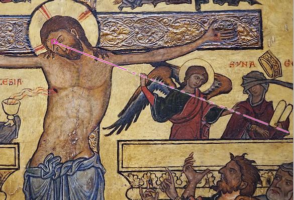 Retable de la crucifixion avec une lance qui pointe l'âme du Christ