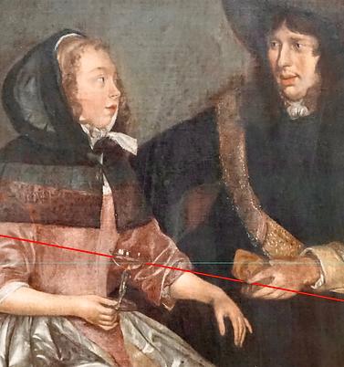 Ter Borch, Jeune couple, le vin est incliné dans le verre et pointe l'index de l'homme.