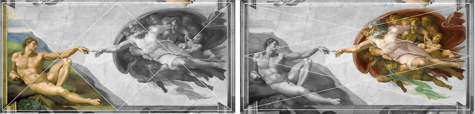 Michel-Ange - Création d'Adam - deux gri