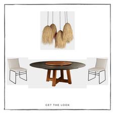 Mesa de comedor de exterior - Silla de comedor de exterior - Lámpara de techo