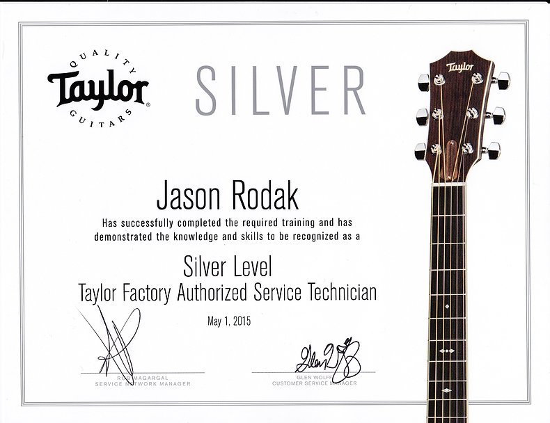 Authorized Taylor Guitar Repair Technician Certificate